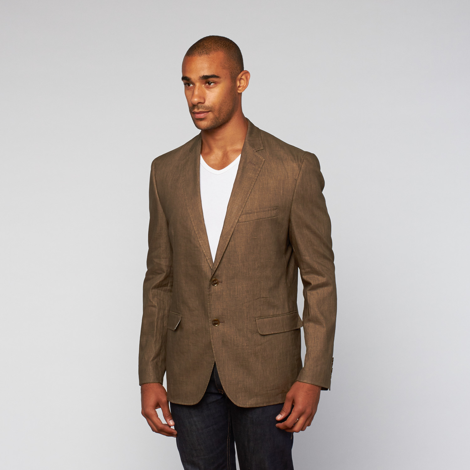 f42be0a5cf2a Daniel Hechter // Casual Washed Linen Jacket // Brown (US: 36R ...