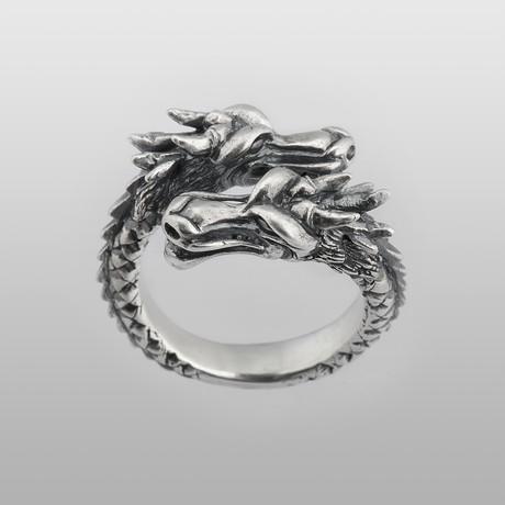 Twin Head Dragon // Sterling Silver (Size 8)