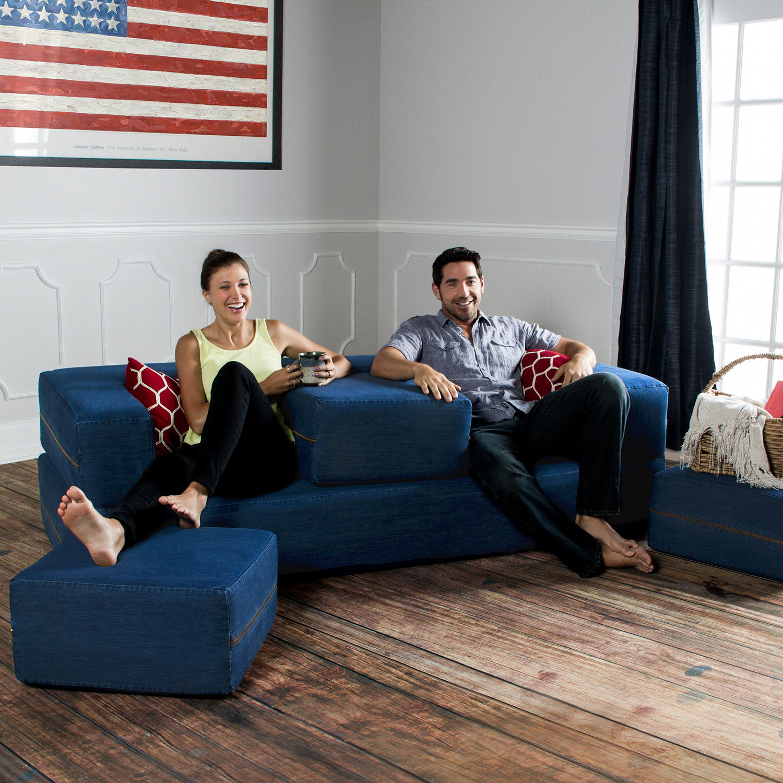 Zipline Denim Convertible Sleeper Sofa