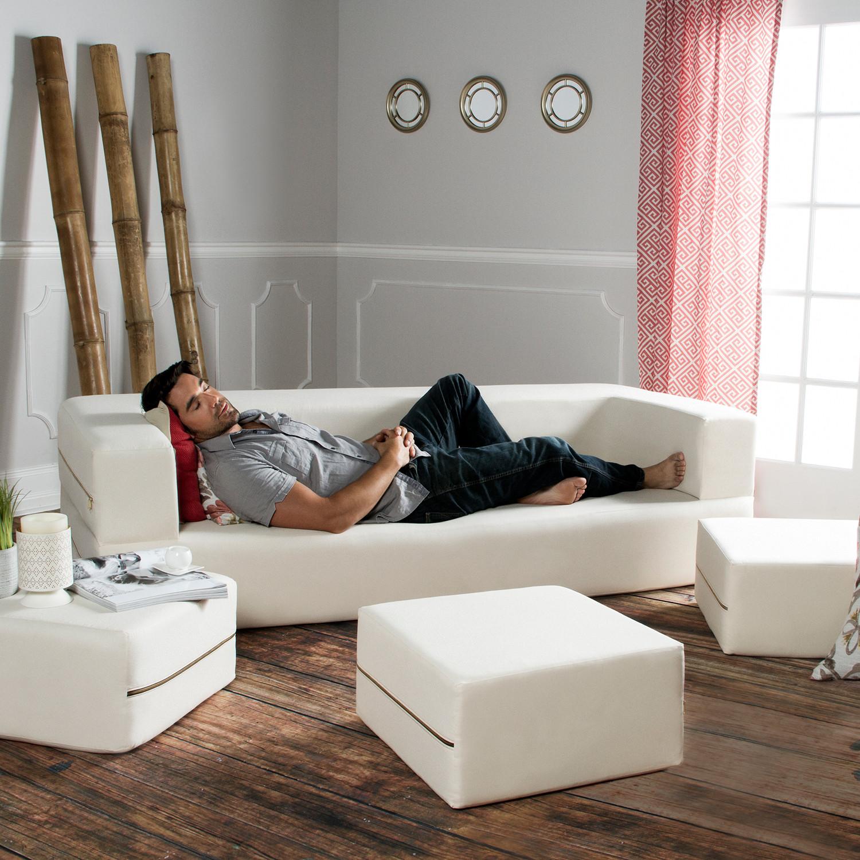 Zipline Denim Convertible Sleeper // Sofa + 3 Ottomans (Black)