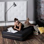 Zipline Denim Convertible Sleeper // Chair + Ottoman (Black)