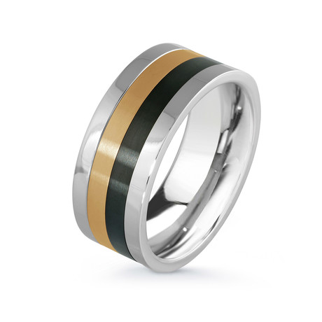 Black + Yellow Plated Spinner Ring