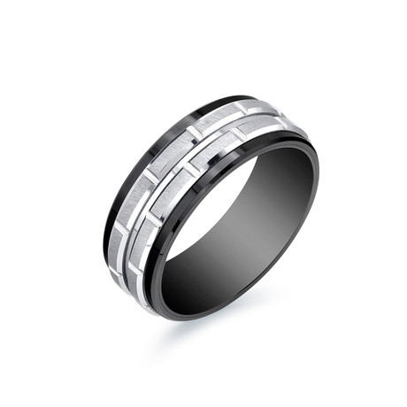 Titanium + Tungsten Band with Black Stripes (Size 7)