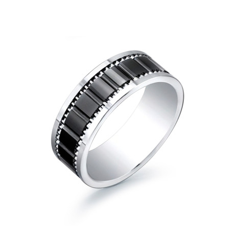 Titanium + Tungsten Band with Ceramic Inset (Size 7)