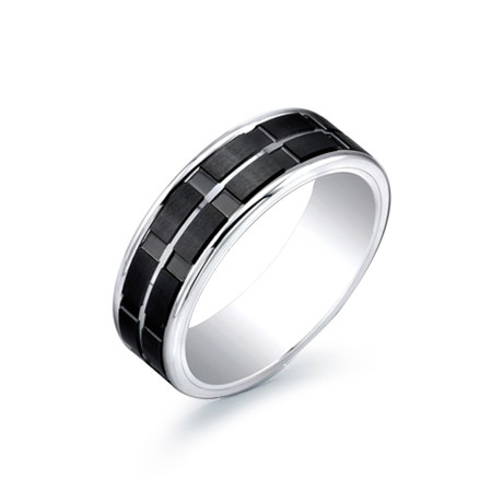 Titanium + Tungsten Band with Ceramic Stripes (Size 7)