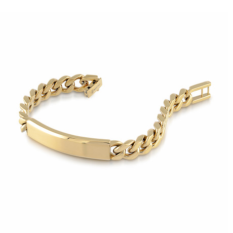 Stainless Steel Curb Link ID Plate Bracelet // 9.4mm // Gold