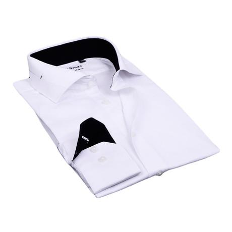 Split Collar Trim Button Up // White + Black (S)
