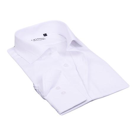 Split Collar Trim Button Up // White (S)