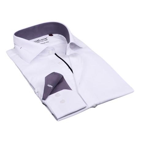 Split Collar Trim Button Up // White + Gray (S)