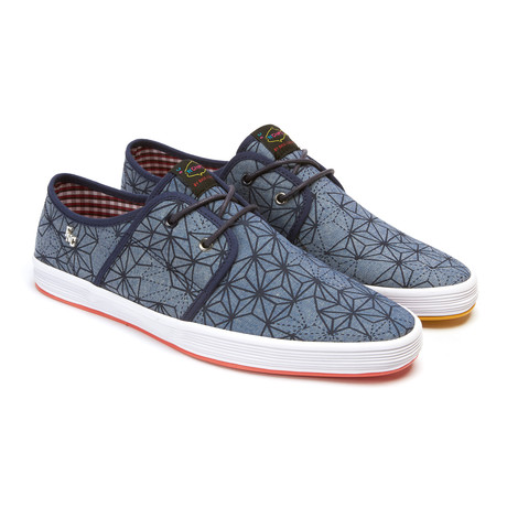 Spam 2 canvas sneaker geo denim euro 40 fish 39 n for Fish and chips shoes
