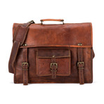 "Leather Briefcase // Brown (14.5""L x 11""W x 5""H)"