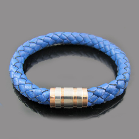 Leather Bracelet with Gold Plated Stainless Steel Clasp (Blue)