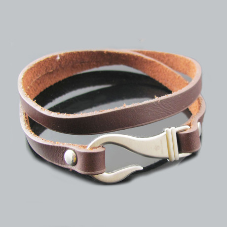 Leather Double Strand Stainless Steel Hook Bracelet
