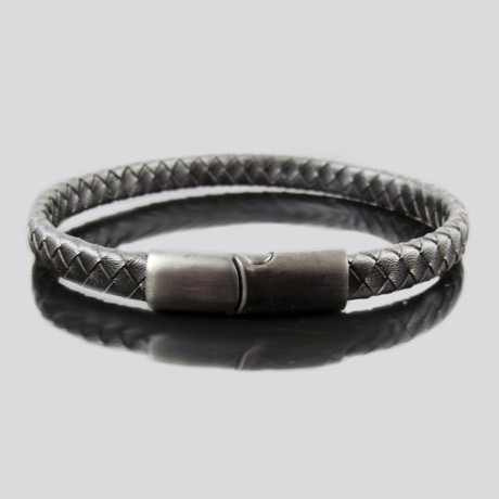 Leather Stainless Steel Modern Bracelet (Black)