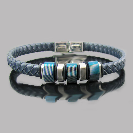Leather Stainless Steel Lazer Stripe Bead Bracelet (Blue)