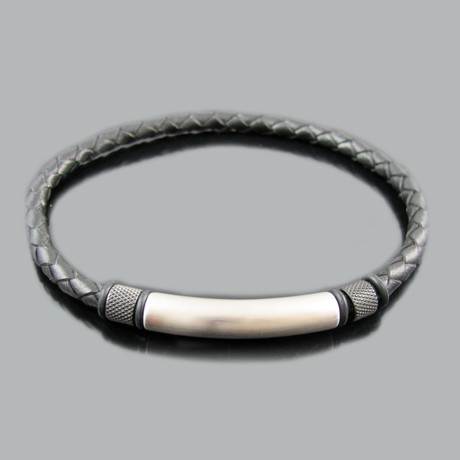 Leather + Stainless Steel Slim ID Bracelet (Brown)