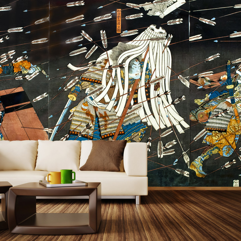 Samurai in battle wall mural decal 4 panels 93 width for Siege mural rabattable