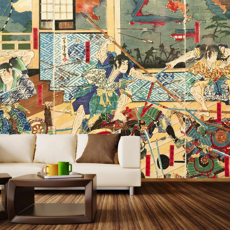 Vintage Japanese Battle Wall Mural Decal 4 Panels 93 Width