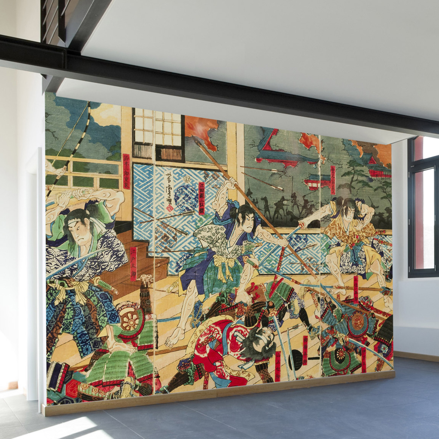 Vintage japanese battle wall mural decal 4 panels 93 width vintage japanese battle wall mural decal 4 panels 93 width amipublicfo Gallery