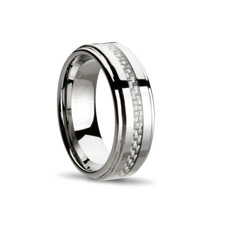 Carbon Fiber Weave Ring // Silver
