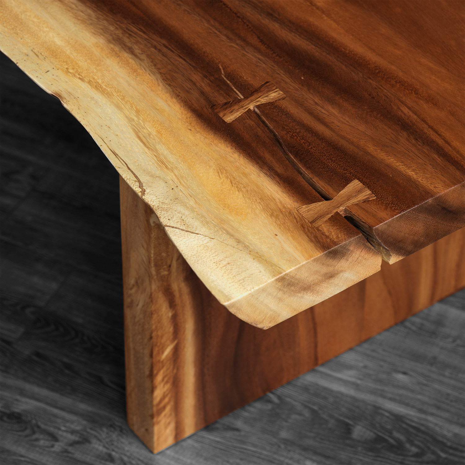 Freeform Suar Wood Coffee Table Wooden Legs artemano Touch