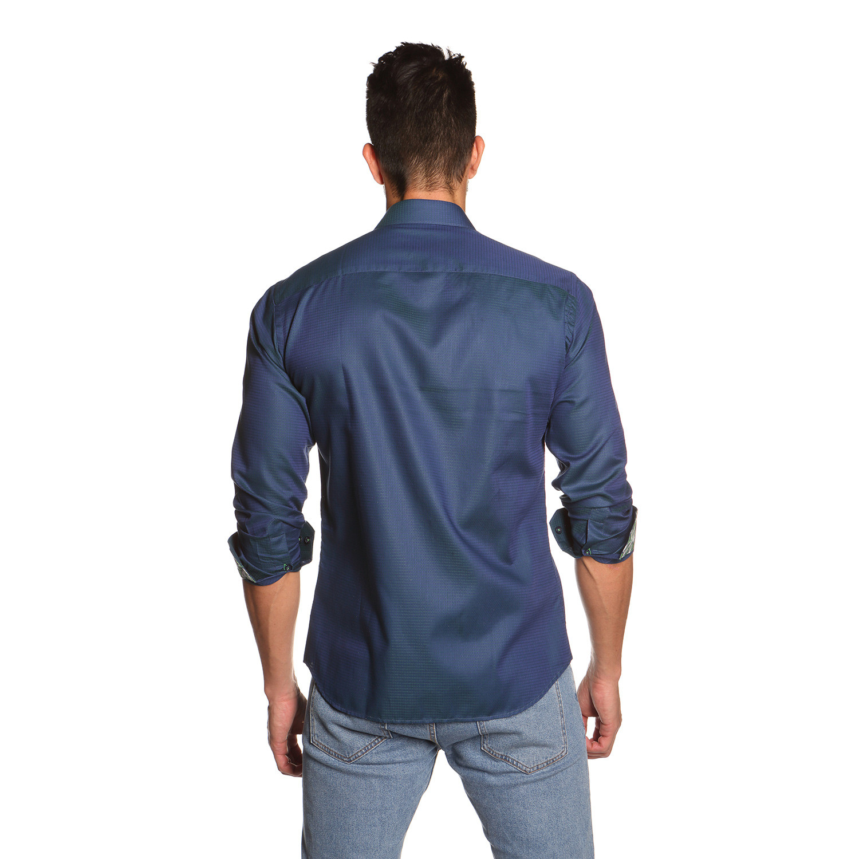 Thomas Button Up Shirt Navy Green S Jared Lang