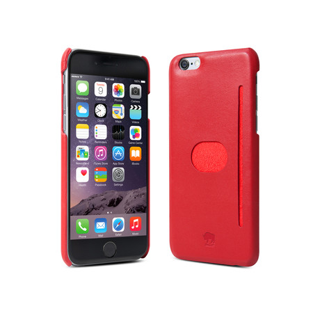 Wall St. Genuine Leather Case iPhone 6 with Protective Film (Red)