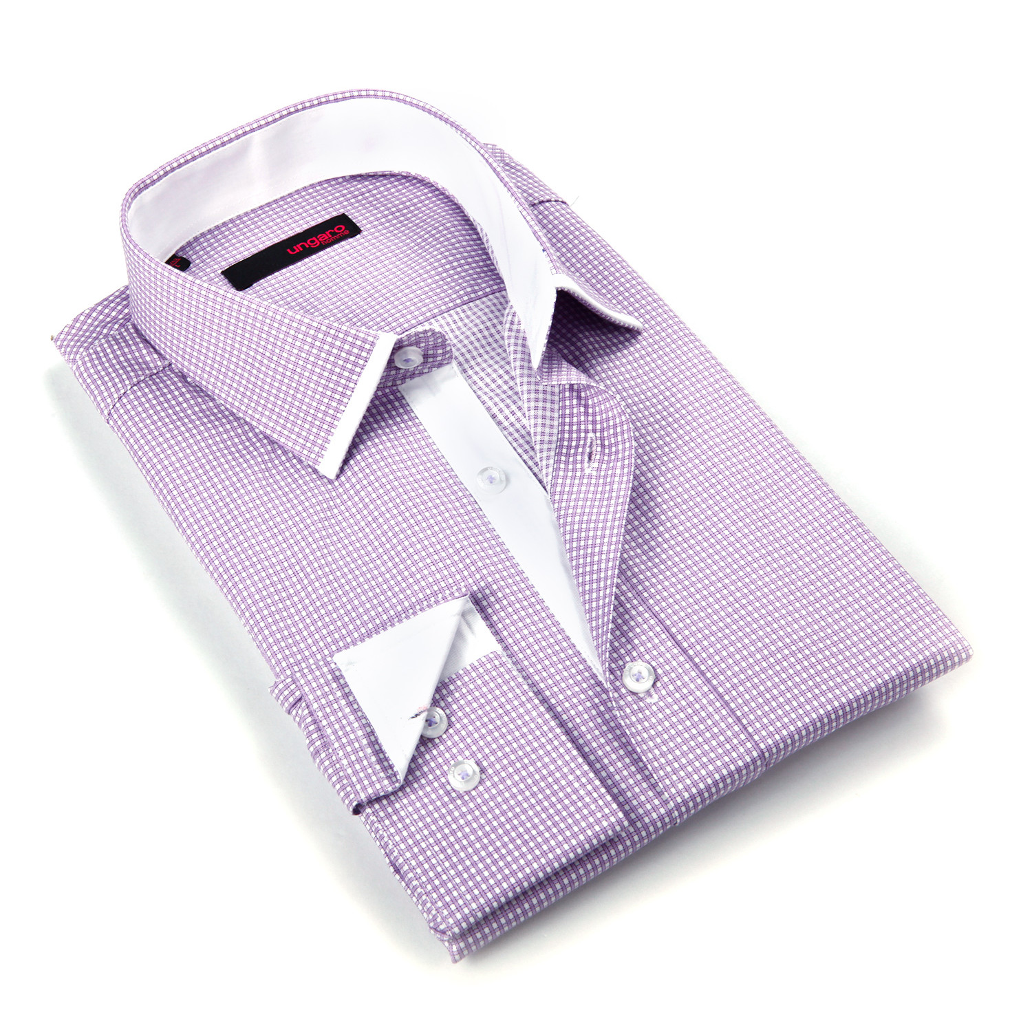 Button Up Dress Shirt Light Purple Micro Plaid S