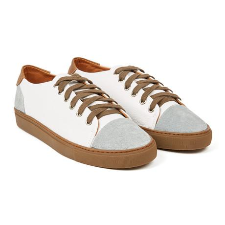 Denizen Leather + Suede Sneaker // White + Grey