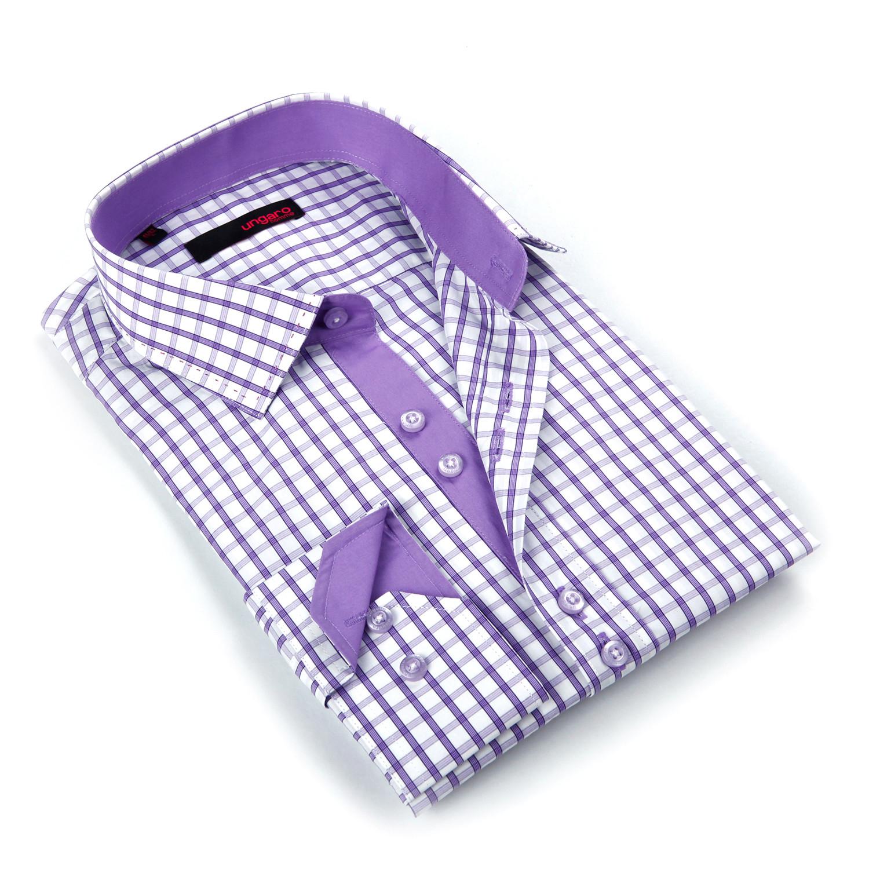 Button up dress shirt light purple shadow plaid s for Purple plaid button up shirt