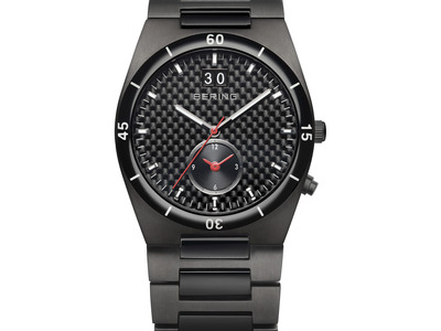 BERING Watch Design Inspired By Arctic Beauty Bering HighTech Ceramic Link Quartz // Dual Time // 32341-782