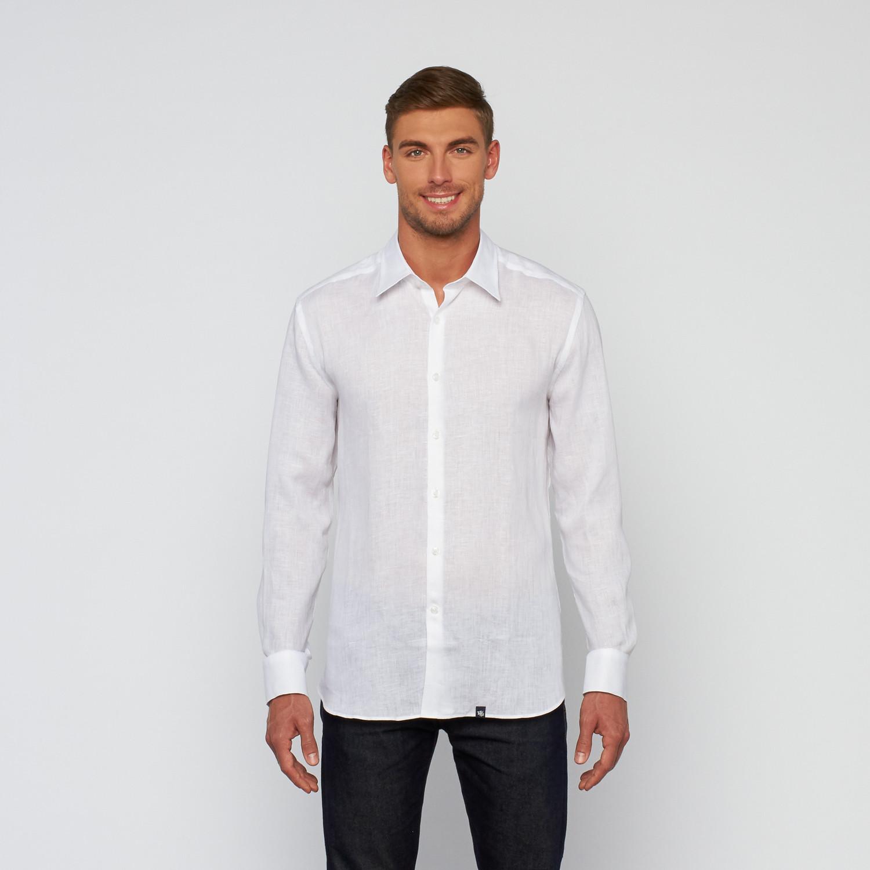Linen Button Up Dress Shirt White S Stone Rose