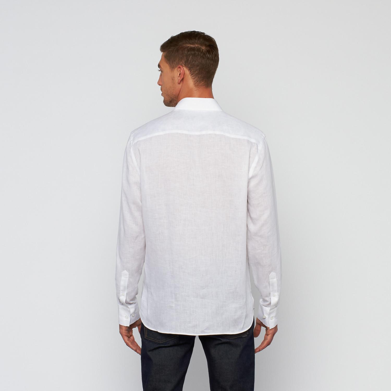 Linen button up dress shirt white s stone rose for White linen dress shirt