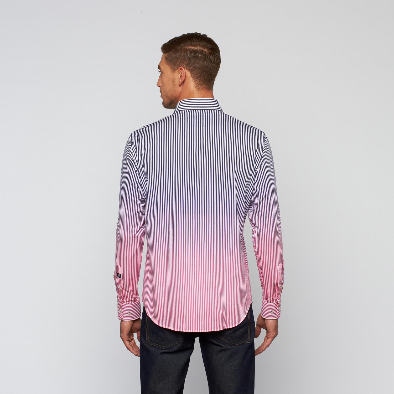 Gradient Striped Dress Shirt Fuschia Navy 2xl Stone Rose