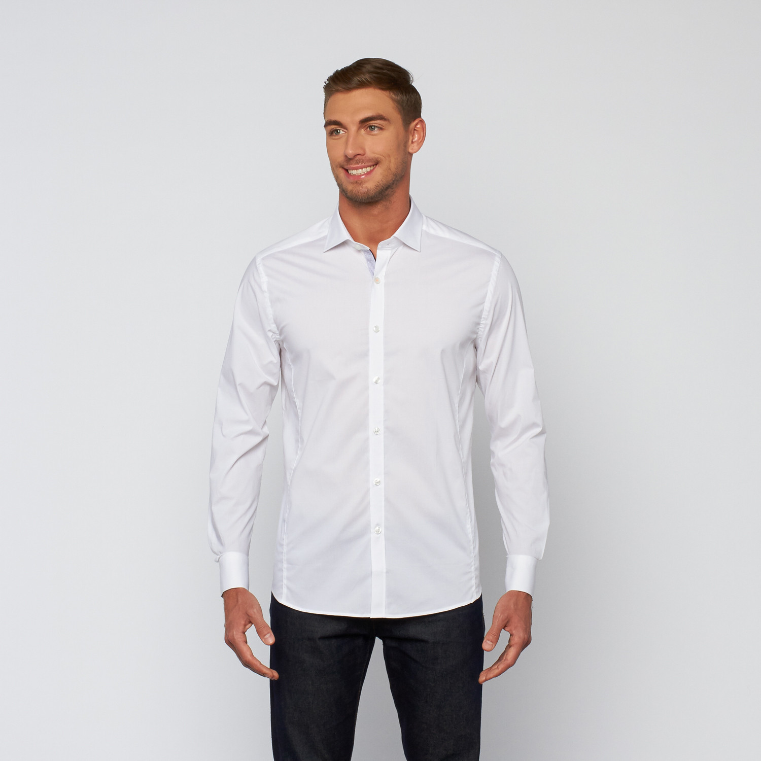 Button Up Dress Shirt White S Stone Rose Touch Of
