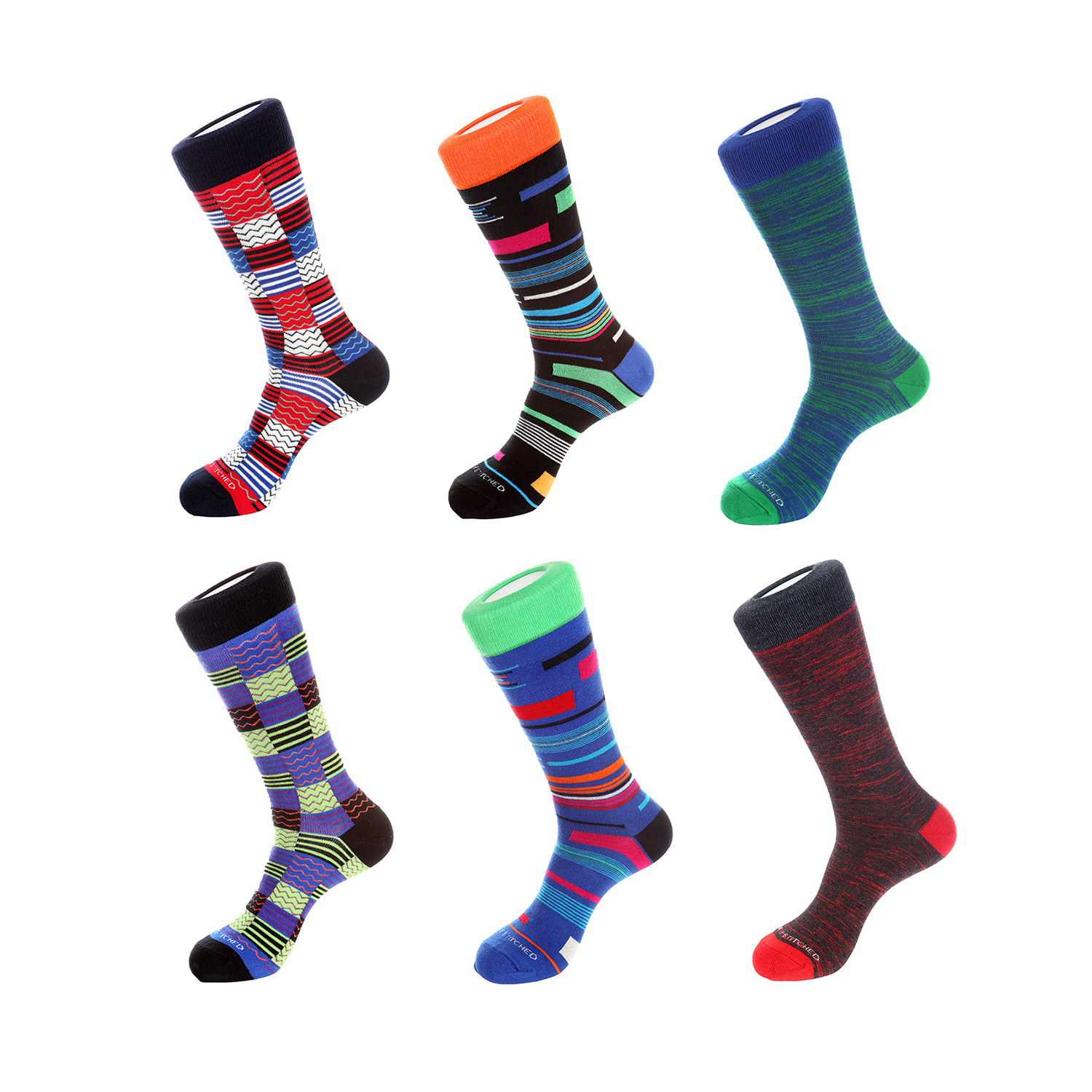 Dress sock electricity pack of 6 unsimply stitched touch of