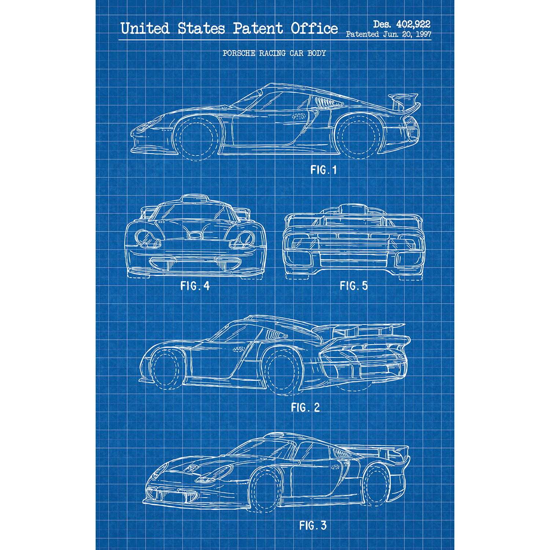 porsche 911 gt1 1997 blue grid white ink inked. Black Bedroom Furniture Sets. Home Design Ideas