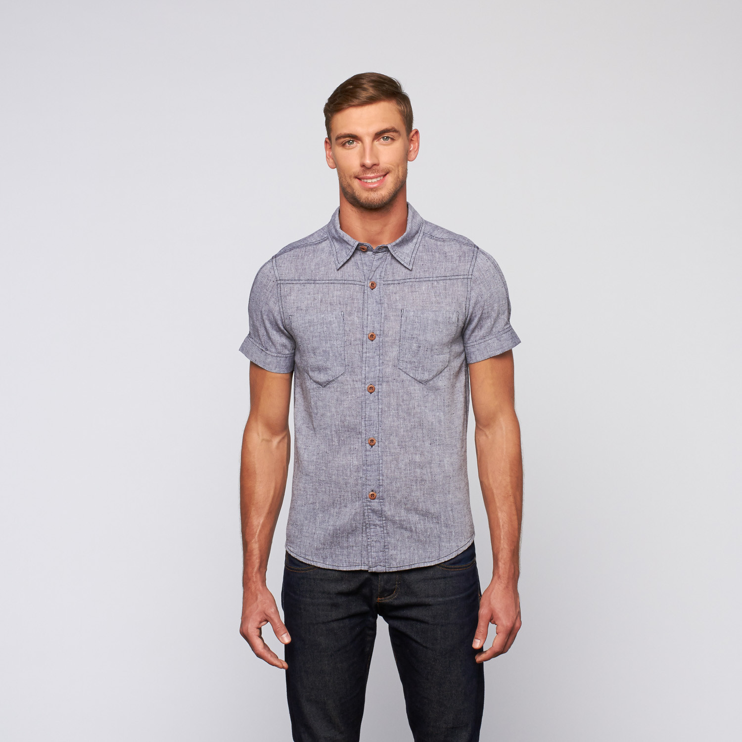 Huntington shirt chambray s tregene touch of modern for Chambray 7 s