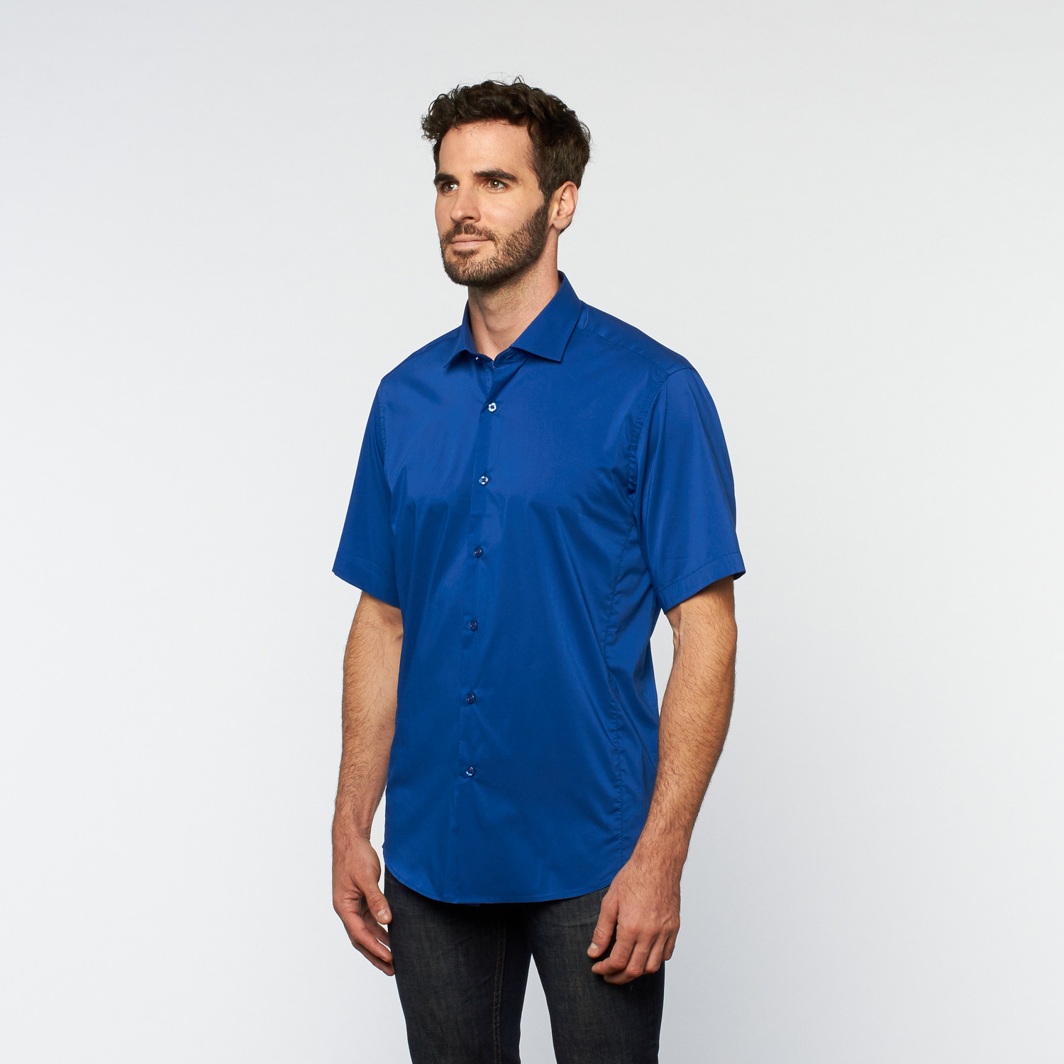 Brio milano button up short sleeve shirt royal blue for Royals button up shirt