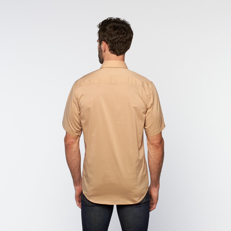 Brio Milano Button Up Short Sleeve Shirt Khaki S