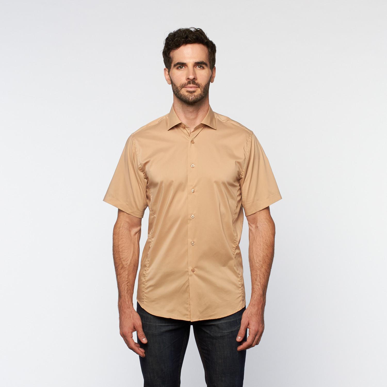 Brio milano button up short sleeve shirt khaki s for Khaki button up shirt