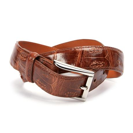 Genuine Crocodile Tail Belt // Cognac