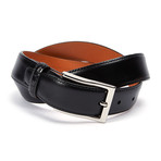 "Genuine Leather Monte Carlo Belt + Genuine Alligator Loop // Black (34"" Waist)"