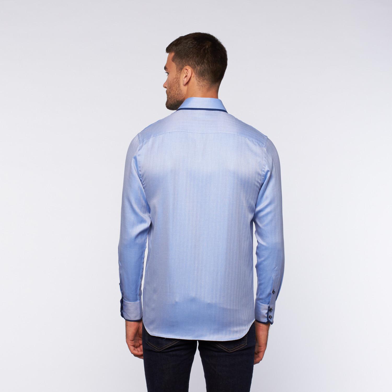 Ungaro Button Up Dress Shirt Blue Texture Navy