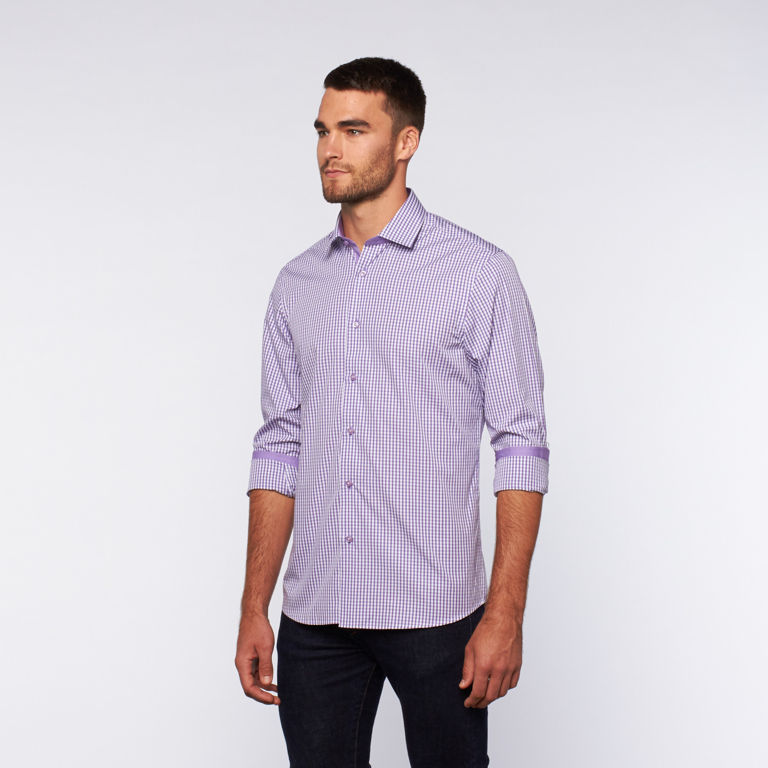 Button Up Shirt Purple Micro Shadow Plaid S