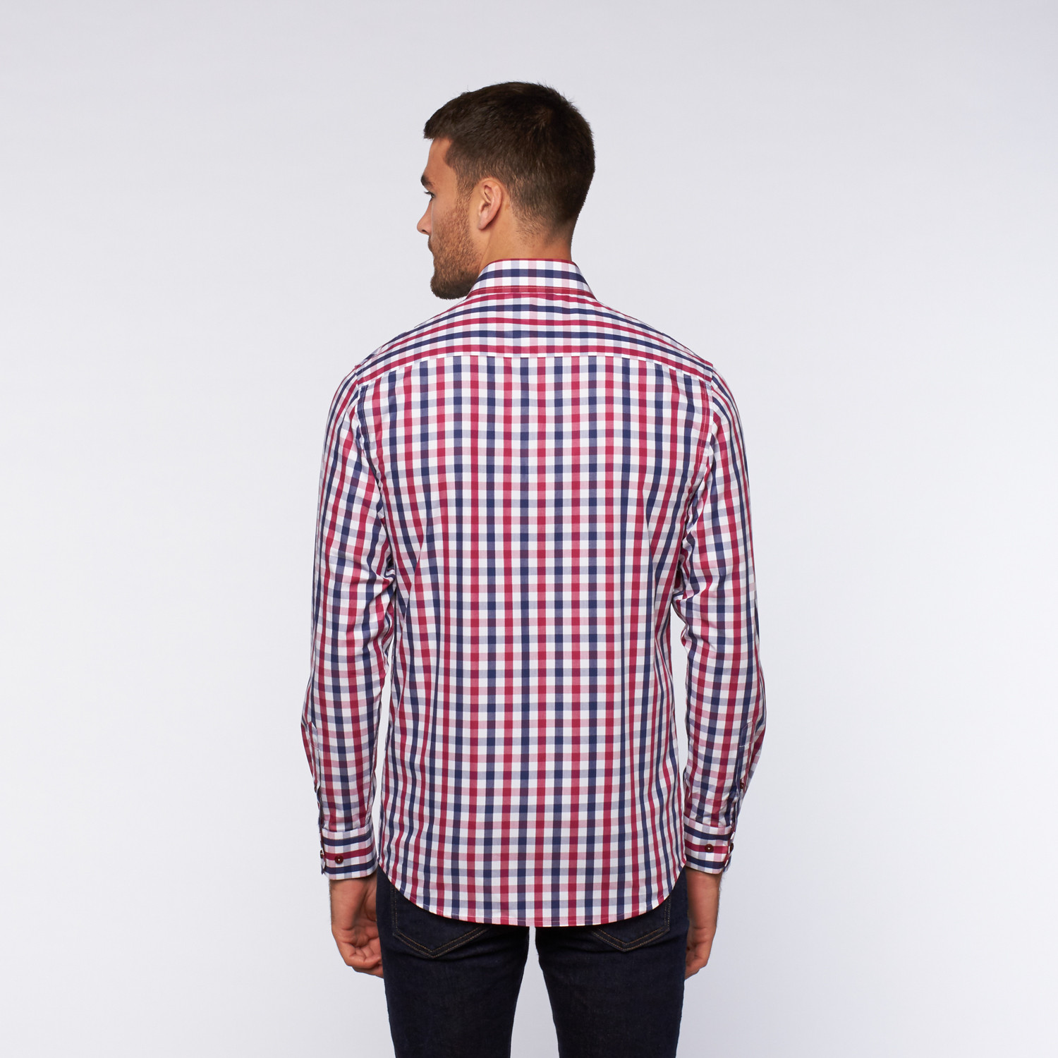 Ungaro button up dress shirt red navy thick plaid for Red plaid dress shirt