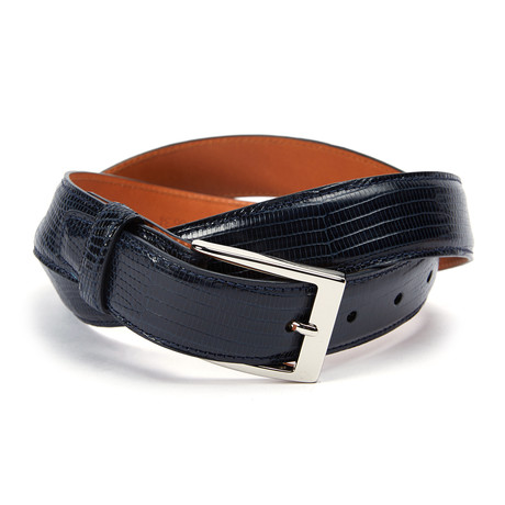 "Genuine Lizard Belt // Navy (34"" Waist)"