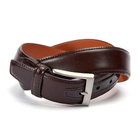 "Monte Carlo Belt + Genuine Crocodile Loop + Tab // Brown (36"" Waist)"