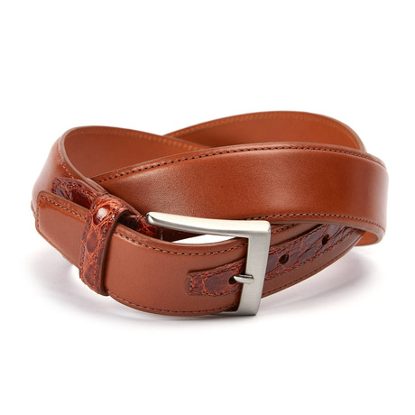 "Monte Carlo Belt + Genuine Crocodile Loop + Tab // Cognac (32"" Waist)"