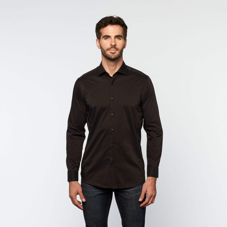 Brio Milano // Button Up Long-Sleeve Shirt // Black (S) - European ...